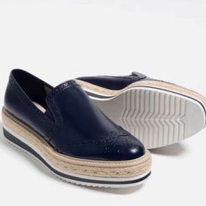 ZARA Navy Platform Espadrilles Slip On Loafers 7.5